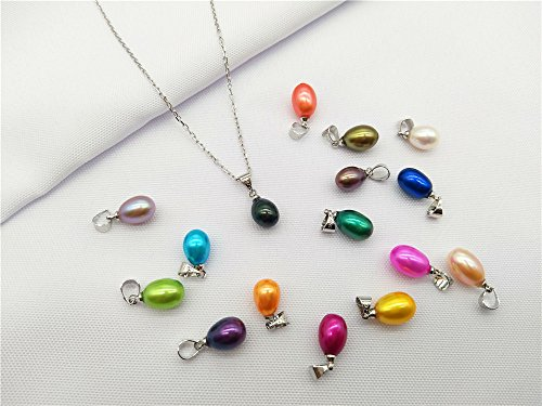 30PCS Drop Pearl Pendants 9-11mm Height Colored Rainbow Freshwater Cultured Oval Pearls (Best Cultured Pearls In The World)