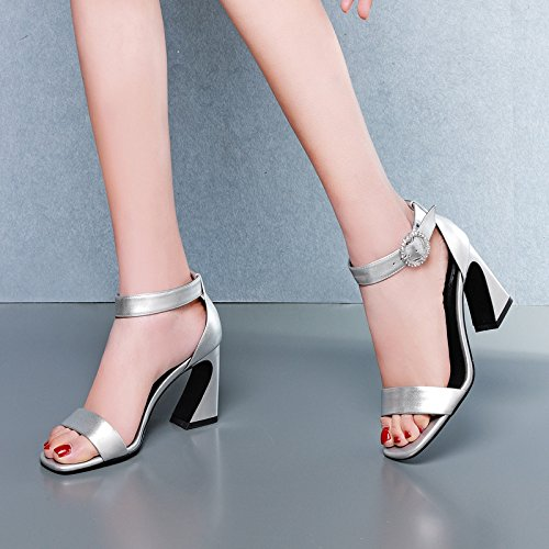 Transpirable Diamante Moda Sandalias altos cuadradas Silver y seis mujer tacones Treinta 39 Zapatos Tacones elegante Hebillas de AJUNR 8cm Cabezas qfFxE1q