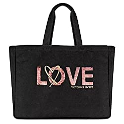 Black Love Sequin Tote Bag