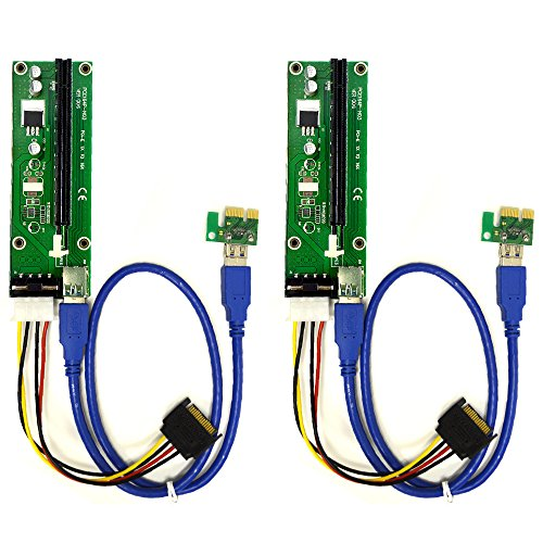 2-Pack PCIe 4-Pin MOLEX PCI-E 16x to 1x Powered Riser Adapter Card w/ 60cm USB 3.0 Extension Cable & MOLEX to SATA Power Cable – GPU Riser Adapter – Ethereum Mining ETH