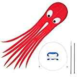 Skyborn Red Alien Jellyfish Kites With Flying Winder And 200 Feet Of Line - Huge (8.5 feet x 2 feet) Excellent Flyer - Beautiful Design And Colors - Top Quality Materials And Construction