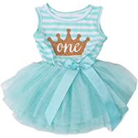 6170b4149b0 Infant Baby Girl Outfit 1st Birthday Sleeveless Crown Stripe Top Lace Tutu  Dress Skirt Clothes Set