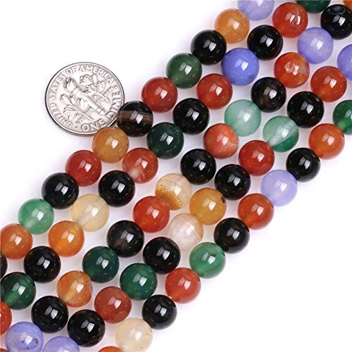 (8mm Multicolor Agate Beads Round Loose Gemstone Beads for Jewelry Making Strand 15 Inch (47-50pcs) )
