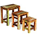 vidaXL Antique Nesting End Tables 3pcs Set Side Table Stand Stool Reclaimed Wood Finish Review