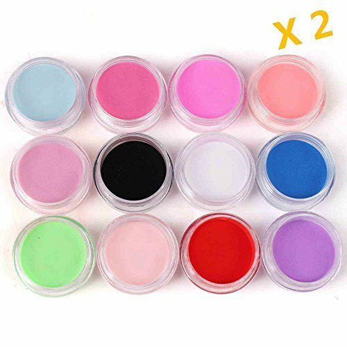 Warm Girl 2pc 12 Color Acrylic Powder Nail Art Tool Kit Acrylic UV Powder Dust gem Polish Nail Tools