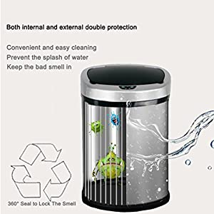 13 Gallon Trash Can, BestOffice Automatic Trash Can Stainless Steel Sensor Trash Bin For Kitchen Bedroom Outdoor