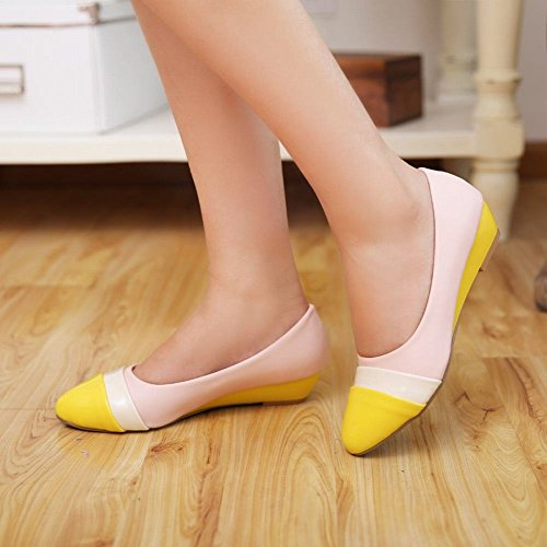 toe Faux Dress yellow Patent Latasa leather Heel Low Womens Pumps Wedge Shoes Pointed toe Fashion Multicolored qqwFxaI8