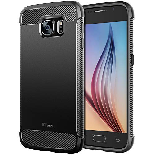 JETech Case for Samsung Galaxy S6, Protective Cover with Shock-Absorption and Carbon Fiber Design, Black