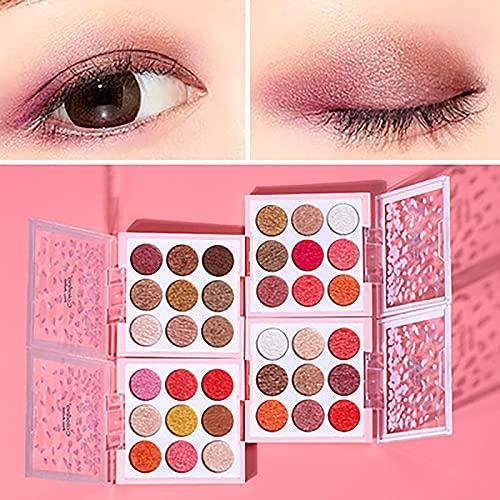 Nine-color Eyeshadow Palette Makeup Eyeshadow Waterproof Mashed Potato Eyeshadow, Rich Colors with Velvety Texture (C)
