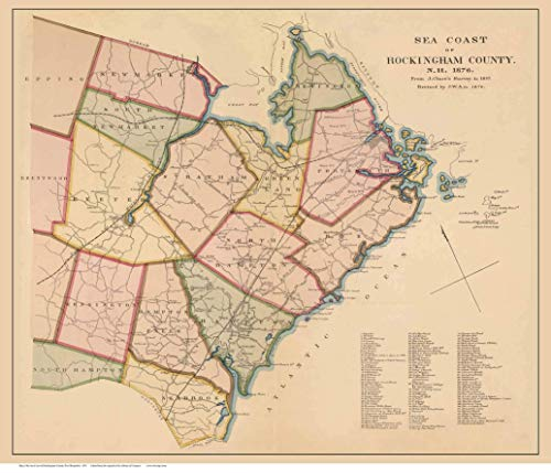 Rockingham County (Partial) Seacoast 1876 Old Wall Map New Hampshire Reprint with Homeowner Names - Genealogy