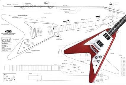 Plan of Gibson Flying V 67 guitarra eléctrica – Impresión a ...