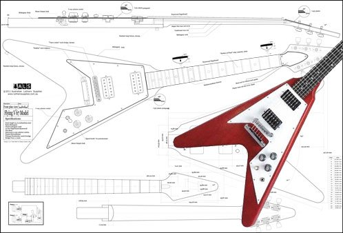Plan of Gibson Flying V '67 Electric Guitar - Full Scale Print