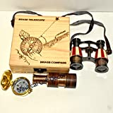 NAUTICAL BRASS SPYGLASS BINOCULAR HANDMADE TELESCOPE DECORATIVE Gift