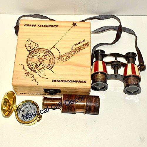 NAUTICAL BRASS SPYGLASS BINOCULAR HANDMADE TELESCOPE DECORATIVE Gift by Nautical Gift Decor