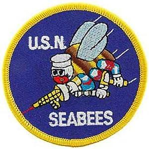 "U.S. Navy Seabees Patch Blue & White 3"""