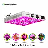 Cheap LED Grow Light 600W Dimmable 12 Bands Grow Lamp Full Spectrum for Indoor Plants Veg&Bloom Flower Dimmers UV&IR GrowMol GM600 High Yield LED Grow Light Tomato Pepper Greenhouse (600W)