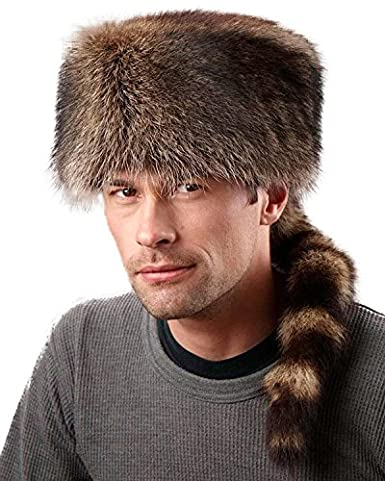 11fb9d39ef9 frr Raccoon Fur Coonskin Cap at Amazon Men s Clothing store