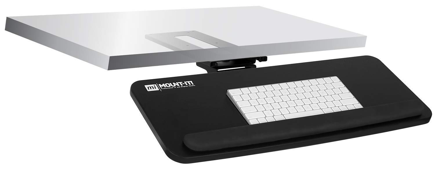 Mount-It! Adjustable Under Desk Keyboard Tray, Ergonomic Computer Keyboard and Mouse Platform with Wrist Rest Pad, Keyboard Slide Out Tray with Height, Tilt and Swivel Adjustment, Black (MI-7132)