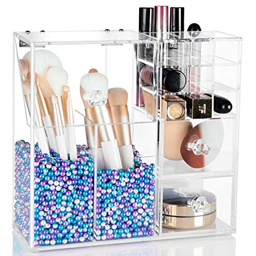 XP-Art Acrylic Makeup Brush Holder with Lid Large Makeup Box Box Dust-proof Box with 2 Drawers 2 Brush Holders and 10 Lipstick with Free Mermaid Pearls