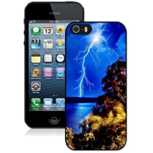 Beautiful Unique Designed iPhone 5S Phone Case With Lightning Strike Forest Lake_Black Phone Case