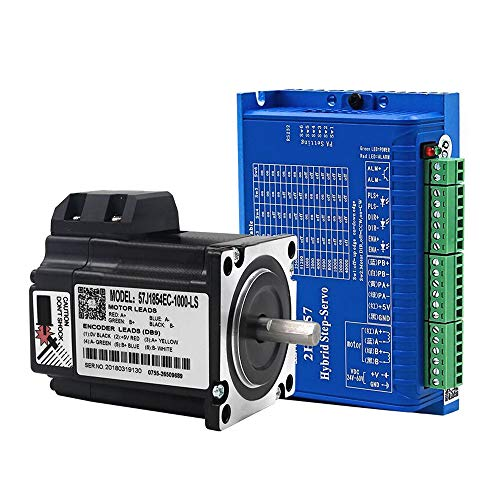 1.2N.m 4A 1.8deg 2 Phase Nema23 Closed Loop Hybrid Stepper Motor 81mm Length and 2HSS57 Wide Voltage DC Hybrid Stepper Servo Drive System for Machine tools, Printing Equipment, Packaging Equipment