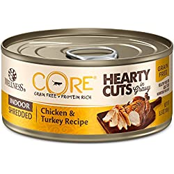 Wellness Core Hearty Cuts Natural Canned Grain Free Wet Indoor Cat Food, Chicken & Turkey, 5.5-Ounce Can (Pack Of 24)