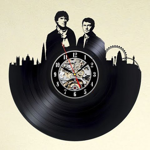 Sherlock Art Vinyl Wall Clock Gift Room Modern Home Record Vintage Decoration Win a prize for feedback B01840J7PQ