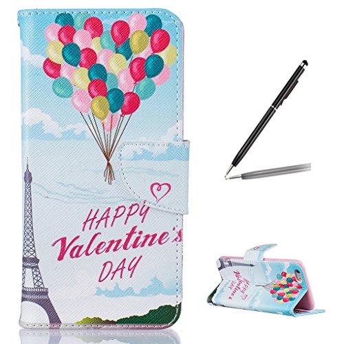 Trumpshop Smartphone Carcasa Funda Protección para Apple iPhone 6 Plus / iPhone 6s Plus (5.5-Pulgada) + Panda Linda + PU Cuero Caja Protector Billetera con Cierre magnético Happy Valentines Day