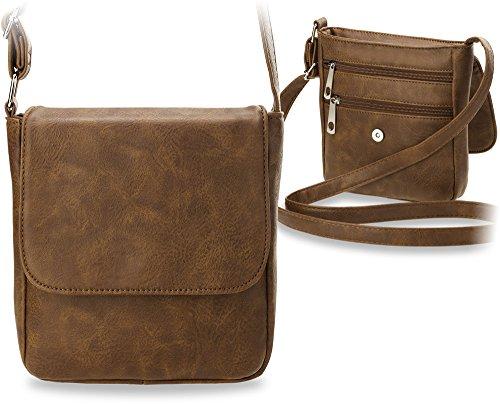 klassische Schultertasche Messengertasche kleine Damentasche braun