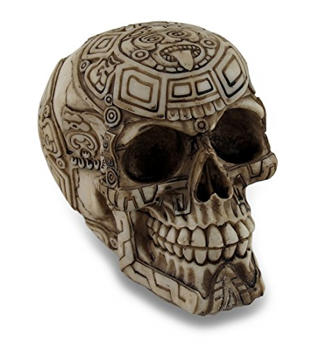 Resin Head Sculptures Aztec Design Carved Human Skull Statue Figure 6 X 4.5 X 4 Inches Off-White