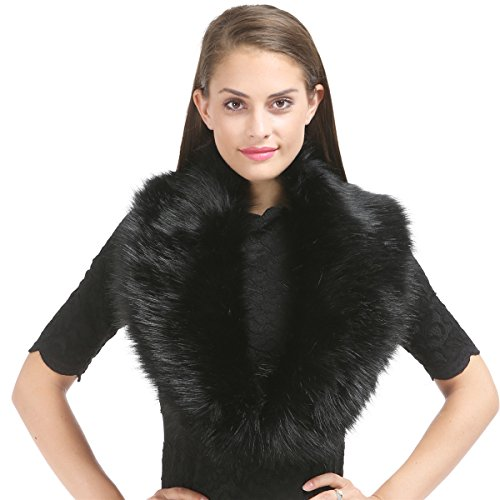 Faux Fur Detachable (Lucky Leaf Women's Winter Fake Faux Fur Stole Scarf Wrap Collar Shawl Shrug for Wedding Evening Party (Black))