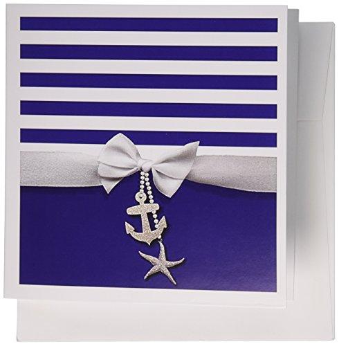 3dRose Nautical navy white stripes