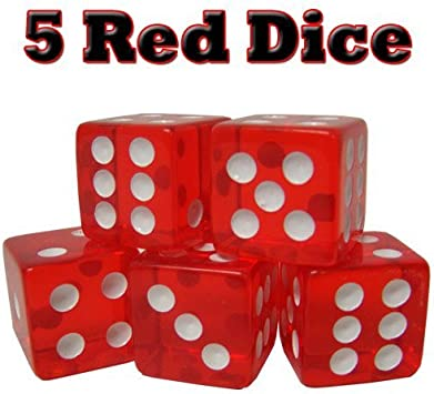 5 Red Dice - 16mm