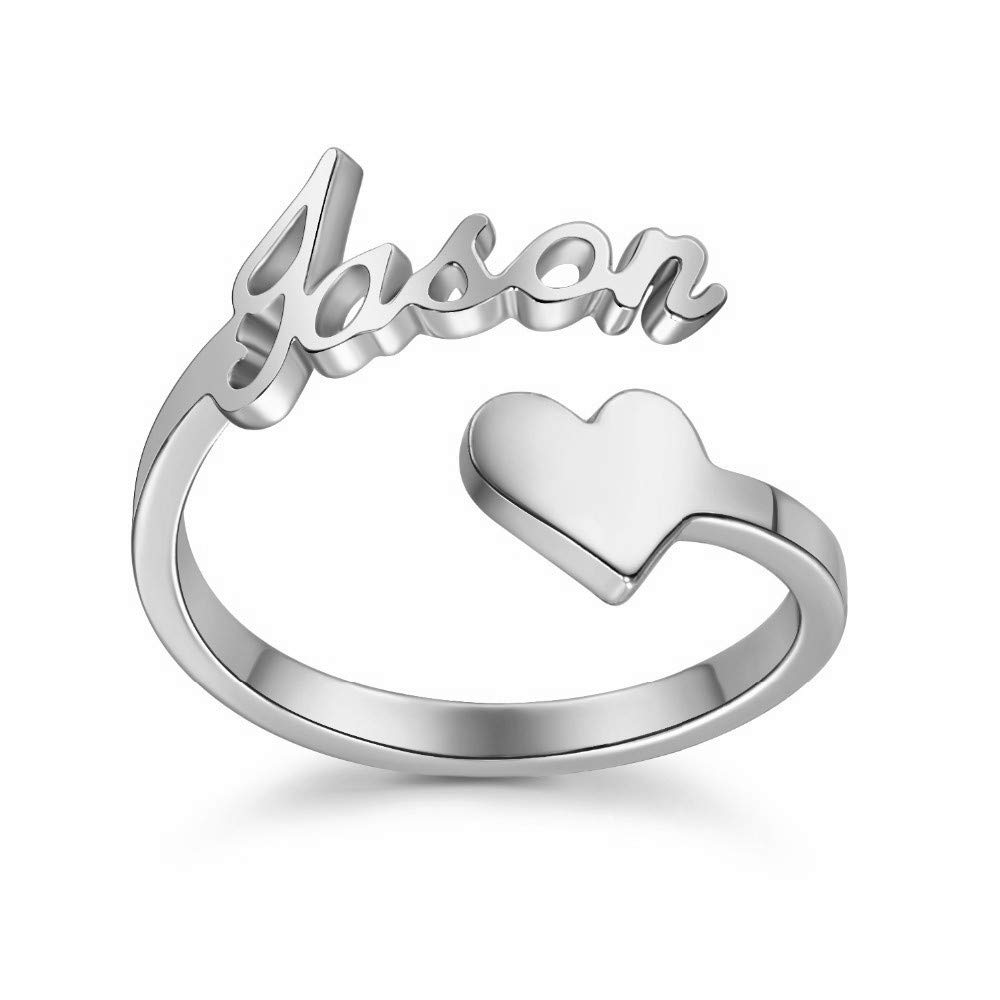 925 Sterling Silver Personalized Heart Nameplate Ring Custom with Any Name,Couple Gifts (Silver)