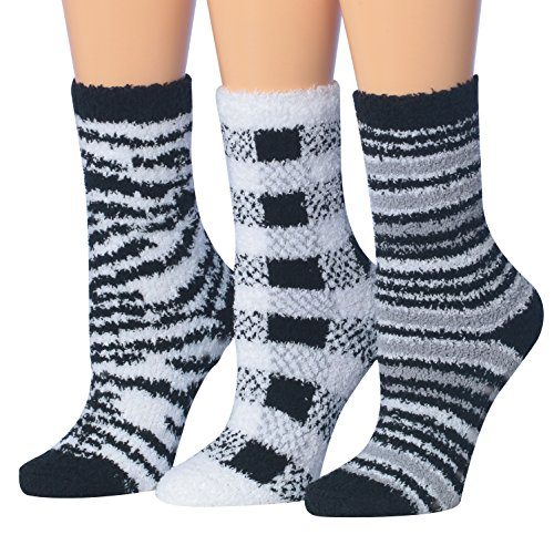 Tipi Toe Women's 3-Pairs Black And White Monochrome Anti-Slip Soft Fuzzy Winter Crew Home Socks, (sock size 9-11) Fits shoe size 6-9, FZ16-A (Black Socks Soft)