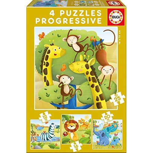 51lo1W2TUtL. SS500 Set de 4 puzzles progresivos de 12, 16, 20 y 25 piezas Puzzles inspirados en Animales Salvajes Compuestos por grandes piezas, perfectamente acabadas para que sea sencilla y segura su manipulación por los niños