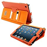 iPad Mini 1 and Mini 2 Case, Snugg Executive Orange Leather Smart Case Cover [Lifetime Guarantee] Apple iPad Mini 1 and Mini 2 Protective Flip Stand Cover With Auto Wake/Sleep