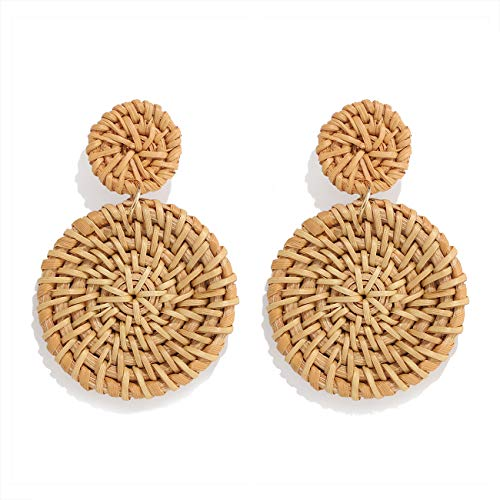 Weave Straw Double Disc Drop Earrings Boho Rattan Dangle Statement Earrings (dark disk)