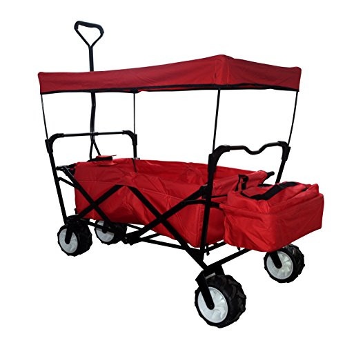 creative-outdoor-distributor-folding-canopy-wagon-red-all-terrain-wagon-with-sun-and-rain-shade