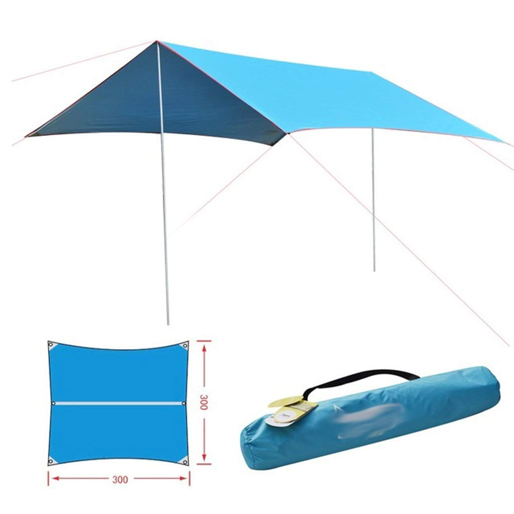 bleu  MEIEI Camping Sun Shelter Hangar Extérieur 3  2.9m Rideau Imperméable 2 Tige De Fer Tente De Plage Ombre Voyage Sun Prougeection Pergola