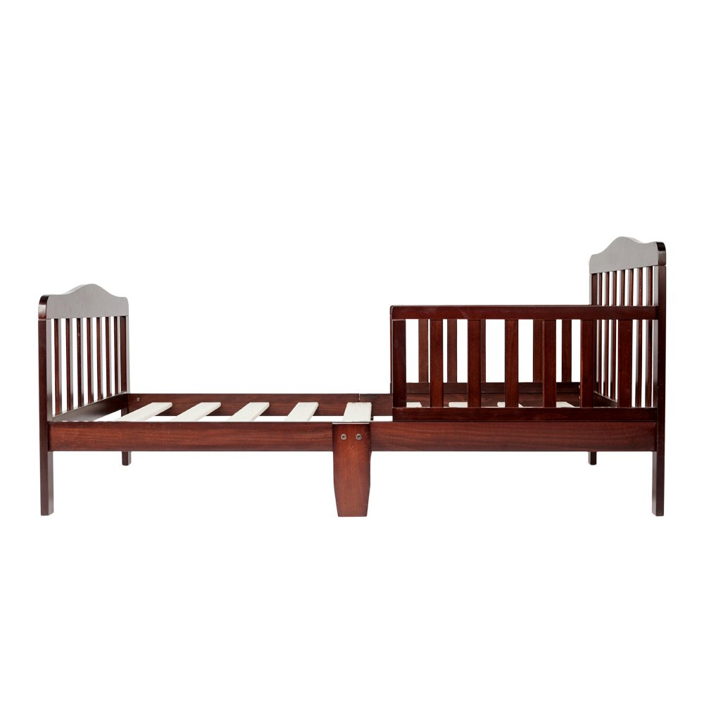 Bonnlo Contemporary Wooden Toddler Bed Sturdy Bedframe with Guard Rail Bedroom Furniture for Kids Children – Cherry by Bonnlo (Image #3)