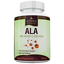 Alpha Lipoic Acid with Acetyl L Carnitine - Anti Aging Supplement Formula with ALA & ALC to Increase Energy and Provide Fatigue Relief 60 capsules