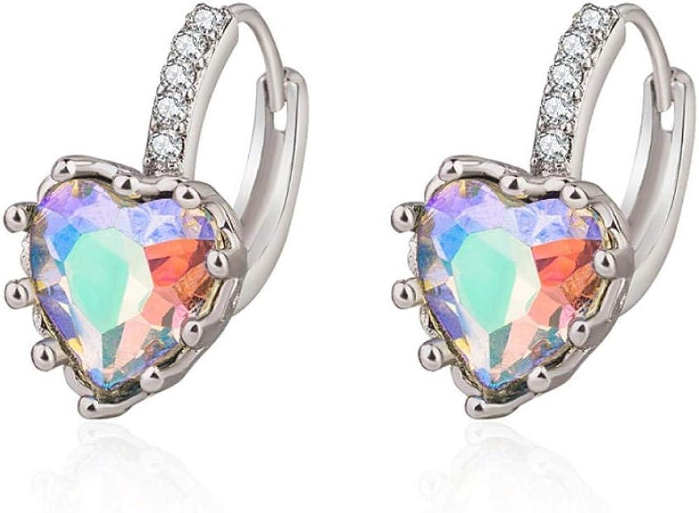 Pendiente Pendientes de plata de moda 925 Joyas en forma de corazón Colorido Circonita Piedras preciosas Pendientes para mujeres Regalos de fiesta de bodas Adornos