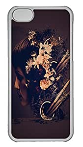iPhone 5C Case Abstract Grunge Flower Head PC Custom iPhone 5C Case Cover Transparent