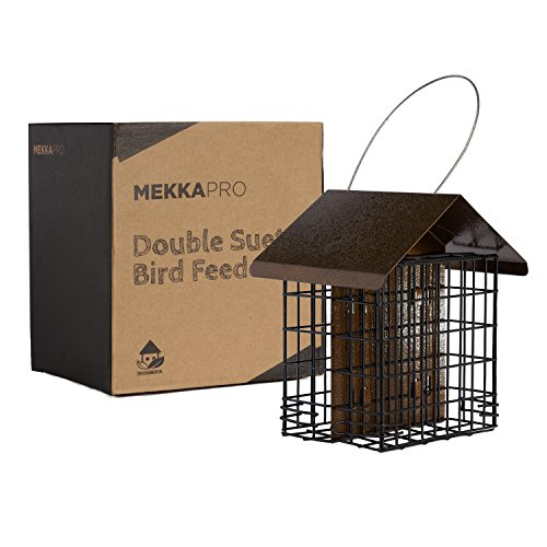 MEKKAPRO Double Suet Wild Bird Feeder with Hanging Metal Roof, Two Suet Capacity, Bird Feed Recommended (Hanging Cake)