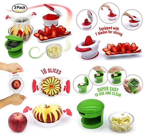 Strawberry Slicer Apple Slicer Corer 16 Thin Slices Garlic Slicer Garlic Press Slicer & Dicer 3 Pack Bundle
