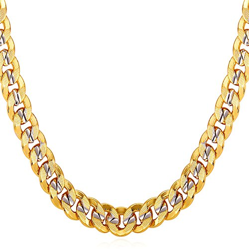 18k Two Tone - U7 Men Chunky Chain 9MM Wide Two-tone Platinum & 18K Gold Plated Curb Cuban Chain Necklace - 24 inch