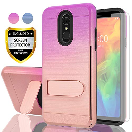 AYMECL LG Q7 Case,LG Q7 Plus Case,LG Q7+ Case,LG Q7a Case HD Screen Protector,[Card Slots Holder] Plastic TPU Hybrid Gradient Color Dual Layer Shockproof Case LG Q7-GC Purple&Rose Gold