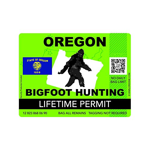 fagraphix Oregon Bigfoot Hunting Permit Sticker Die Cut Decal Sasquatch Lifetime FA Vinyl - 4.00 Wide