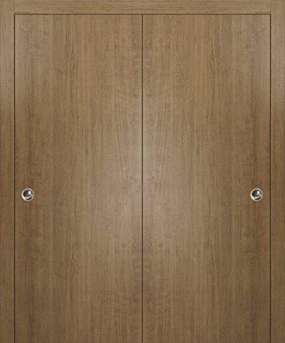 Sliding Closet Bypass Doors 64 x 80 | Planum 0010 Smoky Walnut | Rails Wheels Floor Guide Pulls Hardware Set | Modern Wardrobe Wood Solid Doors